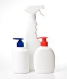 White plastic bottles Stock Photo