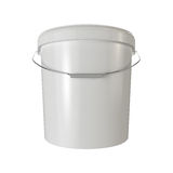 White plastic bucket isolated. 3d render illustration Royalty Free Stock Photo