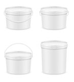 White plastic bucket for paint vector illustration Stock Images