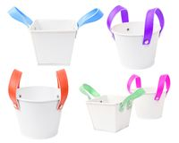 White plastic bucket. Product Packaging For other tool. Set of White plastic bucket. Product Packaging For other tool. clipping path Royalty Free Stock Images
