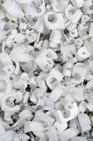 White plastic cable clips. Royalty Free Stock Photography