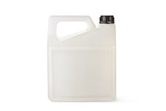 White plastic canister for household chemicals. Standing on a white Stock Images