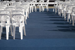 White plastic chair. Rows of white plastic chair Royalty Free Stock Photo