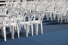 White plastic chair. Rows of white plastic chair Stock Photo