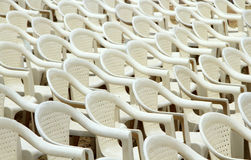White plastic chairs put up for conference Stock Images