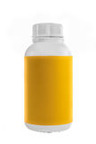 White plastic container with yellow label and white lid. Stock Image