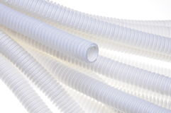 White plastic corrugated pipe Stock Photos