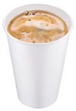 White plastic cup of coffee. Stock Image