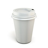 White plastic cup of coffee on a white background. Plastic cup for your design. 3d render image Royalty Free Stock Images