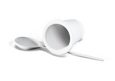 3d plastic cup with spoon isolated on white Royalty Free Stock Photos