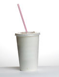 White plastic cup and straw isolated Royalty Free Stock Photo