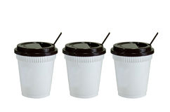 White plastic cups Royalty Free Stock Images