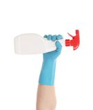 White plastic dispencer in hand. Royalty Free Stock Photo