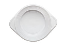 White plastic disposable plate isolated on white background Stock Photos