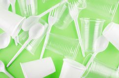 Free White Plastic Disposable Tableware Stock Photography - 161980132