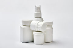 White plastic drug boxes. Royalty Free Stock Image