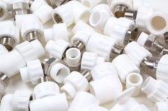 White plastic fittings Stock Images