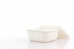 White plastic food box on white background. Stock Photos