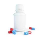 White plastic medical container for pills Stock Photo