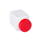 White plastic medical container with red cap on white background Royalty Free Stock Photo