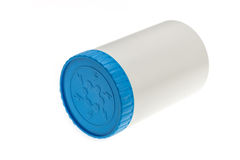 White plastic medicine bottle with blue cap Royalty Free Stock Photos