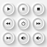 White plastic navigation button vector player set Royalty Free Stock Images