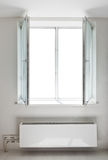 White plastic open double door window Royalty Free Stock Images