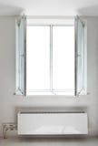 White plastic open double door window Royalty Free Stock Images