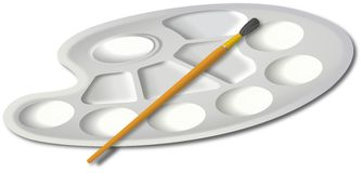 White plastic painting palette with small brush Stock Photo