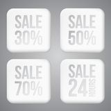 White plastic SALE buttons Royalty Free Stock Photos