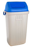 White plastic selective trash can with blue lid for paper Royalty Free Stock Image