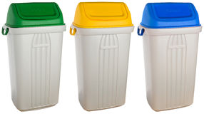 White plastic selective trash can Royalty Free Stock Photos