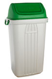 White plastic selective trash can with green lid for glass Stock Photos