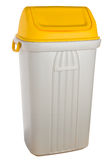 White plastic selective trash can with yellow lid for metal and plastic Royalty Free Stock Photography
