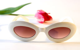White plastic sunglasses and tulip. White plastic old-fashioned sunglasses and red tulip Royalty Free Stock Image
