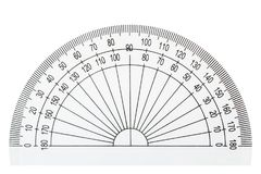 White plastic transparent protractor, isolated on white background royalty free stock photography
