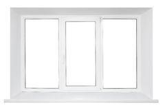 White plastic triple door window Stock Photography