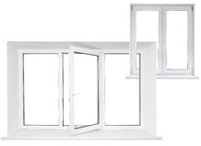 White plastic triple door window with double door in chain Stock Image