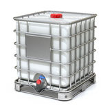 White plastic water storage tank. With metal cage - 3D illustration Royalty Free Stock Images