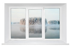 White plastic window frame Stock Images