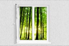 White plastic window. Isolated on white background Royalty Free Stock Photo