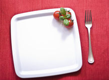 White plate. On red tablecloth Royalty Free Stock Photos