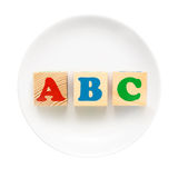 White plate with ABC sign Royalty Free Stock Image
