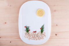 On a white plate beautifully laid out oatmeal, lemon and dill Royalty Free Stock Photography