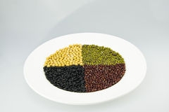 The white plate of black beans, soybeans, red bean Stock Photos
