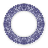 White plate with blue ornament Royalty Free Stock Images