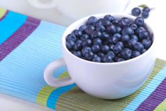 White plate with blueberries. On the striped serviette Royalty Free Stock Images