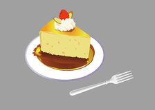 White plate, cake, fork royalty free stock photos