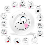 White plate cartoon with many expressions Stock Images