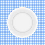 White Plate on a Checkered Tablecloth Vector Royalty Free Stock Photo
